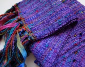 handwoven violet chenille scarf
