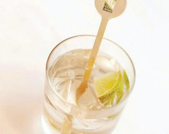 Cocktail Stirrer - Gold Foil - Tiki -  Drink Stirrers -  Stir Sticks- Cocktail Party - Tropical - Tiki Mask - Totem Pole -  Set of 10