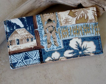 Checkbook Cover,Checkbook Wallet,Tropical Tiki Fabric Checkbook Wallet,Tropical Hawaiiian Fabric Wallet,Checkbook Case