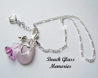 Sterling Silver Anklet -Lavender  Sea Glass Anklet - Seaglass Anklet - Beach Glass Anklet