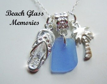 Sea Glass Necklace Palm Tree  Beach Glass Necklace  Beach Glass Jewelry