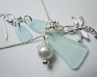 Sea Foam Sea Glass Pendant Necklace and Earring Set Starfish Beach Glass Seaglass Necklace