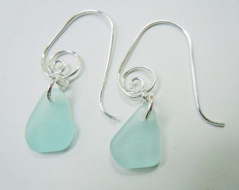 Sea Glass Earrings - Light Aqua Modern Jewelry Beach Glass Earrings Dangle Earrings