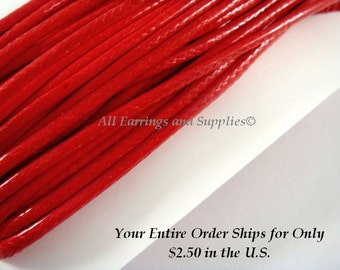 30ft Red Cording Waxed Cotton Korean 2mm - 30 ft - STR9020CD-R30
