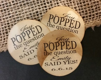 """2"""" STICKER Popped The Question Personalized Wedding Engagement Shower Favor STICKER choose your amount sold in sets of 20 STICKERS"""