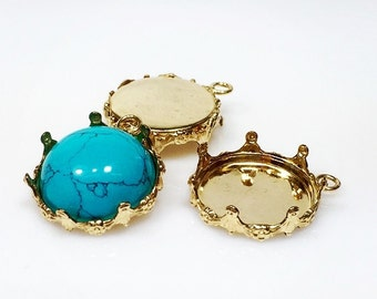 14mm Round 14k Gold filled Bezel Cup Tray with Crown  DIY (2940953GF)