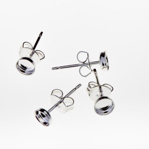 10pcs x Round High 5mm Bezel Earrings On Post  include Ear Backs Sterling Silver 925 (6105)