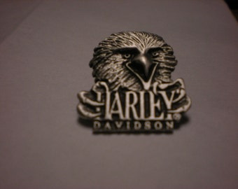 OLD SCHOOL vintage harley davidson pin. eagle with harley davidson