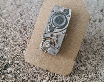 Steampunk watch work tie tac. Father's day gift perfection