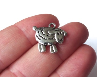 10 Sheep Lamb (double sided) Charms 18x16x3mm