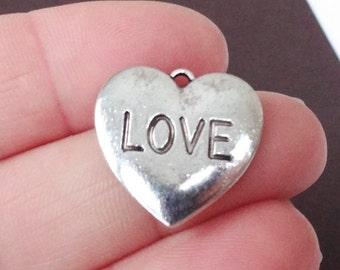 "10 ""LOVE"" Heart Charms 20x19x1.5mm ITEM:Q4"