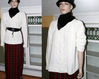 vintage 80s soft oversize knit boyfriend sweater slouch slouchy jumper grunge cable fisherman acrylic revival boho plus size winter white