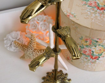 Ornate Victorian Brass Hand Clip Card Stand - Made in Japan - Jewelry or Hand Towel Holder SRG