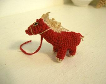 Vintage Crocheted Horse Miniature Doll House 1930s Handmade Toy Small Tiny Animal