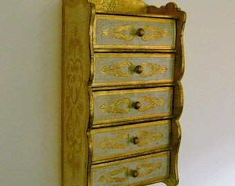Italian Florentine Chest Five Drawer Dresser Wall Hanging White and Gold Shelf