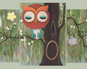 Owl, Bird, Nursery Art, Sample, Paintings, Monogram, Boys Room, Gender Neutral, Whimsical, Custom, Canvas, Bedding, Kids Wall Art, Tree