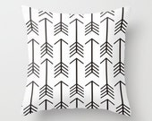 Arrow Pillow Cover Black Pillow Black and White Pillow Rustic Pillow 8 Sizes Available Cushion Cover