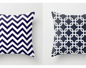 Nautical Pillow Covers Beachy Pillows Navy Blue Pillows Chevron Pillows Size Choice