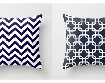 Nautical Pillow Covers Beachy Pillows Navy Blue Pillows Chevron Pillows Size Choice