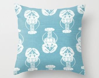 Lobster Pillow Covers Beach Decor Beach Pillows Decorative Pillow Blue Slipcover Cushion Covers