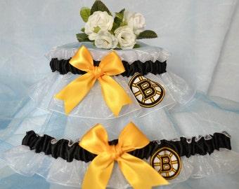 Wedding Garter Set White Handmade with Boston Bruins fabric