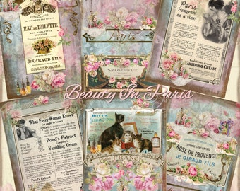 Instant Download  - Beauty In Paris - ACEO - Digital Download - Printable  Digital Collage Sheet