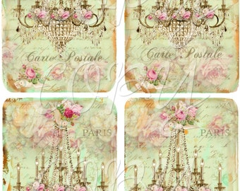 Shabby Chic - Instant Download - Chandelier - 3.5 x 5 inches - Printable  Digital Collage Sheet - Down Load Images - Tags