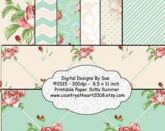 Instant Download  12x12  Softly Summer Paper Pack  -  Printable Digital Collage Sheet - Digital Download Scrapbooking