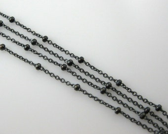 Oxidized Chains -Sterling Silver Beaded chain, Satellite Chain,Unfinished Chain, Bulk Chain-Cable link with Tiny Ball-SKU:101006-OX
