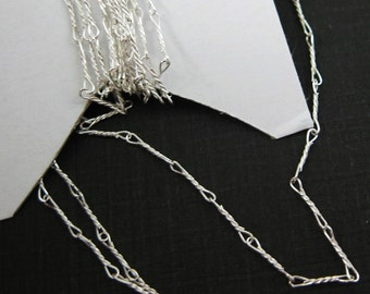 Sterling Silver Chain-Silver Bulk Chain, Delicate Chain,Fine Fancy Twisted Chain-6.7mm-Jewelry Supplies Wholesale, (3 feet )-sku:101007