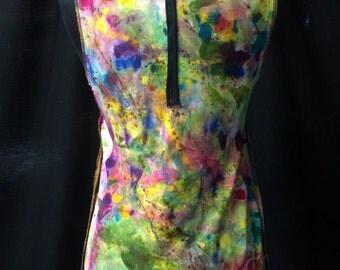 Tee Shirt Woman Cotton Sleeveless Top Rainbow Hand Painted Fantasy Applique OOAK Art To Wear Applique Brown Mustard Side Insert A Line