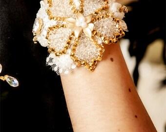 SALE - Bridal cuff bracelet LAELIA - hand beaded flower with Swarovski crystals
