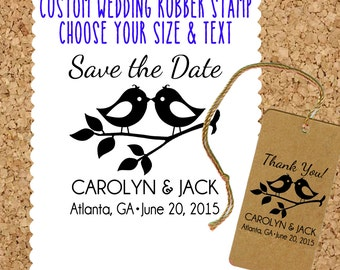 Save the Date / Wedding Favor / Wedding Thank you rubber stamp with Love Birds - Personalized, Customized - Handmade by Blossom Stamps