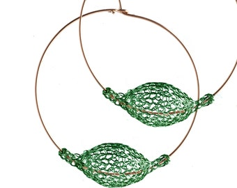 Dark GREEN earrings, Extra Large hoop earrings, BOHO gypsy hoops, Unique hoop earrings, Wire Crochet jewelry- Gypsy bohemian fashion