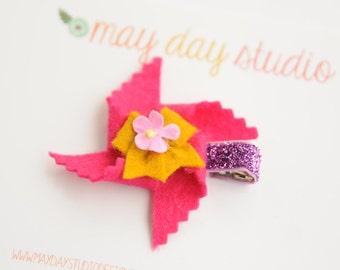 baby toddler girls felt pinwheel alligator hair clip - hot pink pinwheel with mustard bow barrette - purple glitter clip