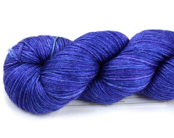 Blue Suede Shoes--hand dyed sock weight yarn, merino and silk, (437yds/100gm)