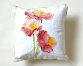 Floral Pillow, Throw Pillows, Pink and Peach, One of a Kind, Chartreuse Piping, Poppies, Watercolor Pillow, Pastel Colors, Custom Pillow