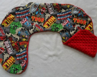 Marvel Retro Comic Blast and Red Minky Dot Nursing Pillow Cover Fits Boppy CHOICE OF MINKY