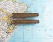 SALE! 2 slim mod distressed brass metal handles