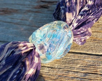 Silver Fumed Glass Dread Bead Hand Sculpted