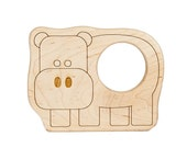 Hippo Wood Toy Teether
