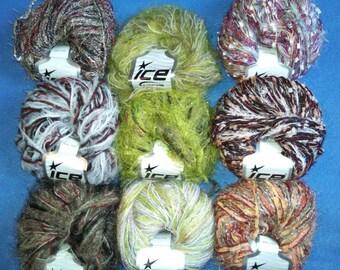 Multi-Strand Novelty Yarn by Ice Yarns, three skeins