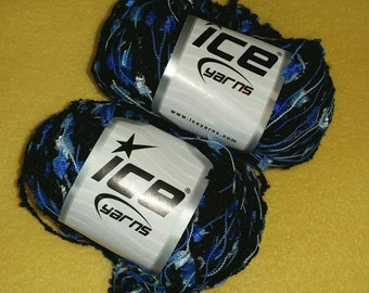 Variegated Cobalt Blue and Black Multi-strand Yarn by Ice Yarns - 2 skeins
