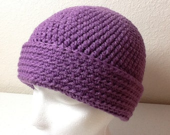 Hand Crochet Hat Purple Sized Child to Adult