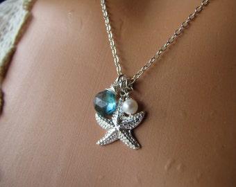 Starfish Necklace, Sterling Silver Gemstone Jewelry
