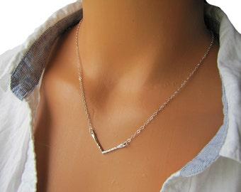 Chevron Necklace, Sterling Silver Triangle Necklace, V Necklace,  Layering Necklace