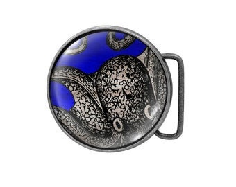 Belt buckle Curious Octopus Antiqued Silver Gifts for him Gifts for her
