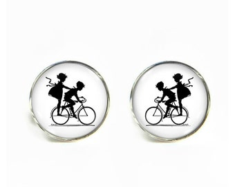 Kids on Bike Bicycle small post stud earrings Stainless steel hypoallergenic 12mm