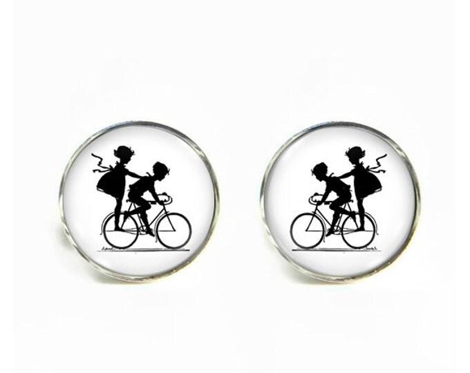 Kids on Bike Bicycle small post stud earrings Stainless steel hypoallergenic 12mm