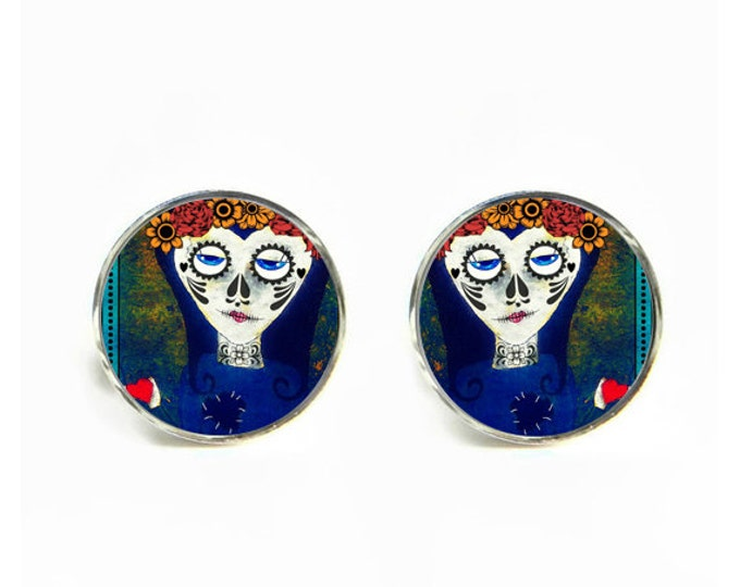 Day of the Dead small post stud earrings Stainless steel hypoallergenic 12mm Dia de los muertos Gifts for her